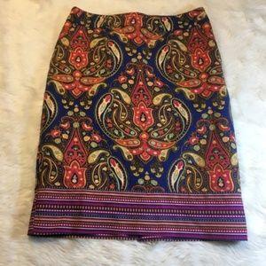 Merona Paisley Pencil Skirt Stretch Extensible 2